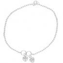 Sterling Silver Anklets with Heart Charms