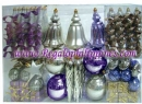 100 Count Christmas Ornament Set in Silver, Gold, Purple