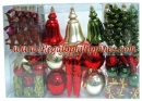 100 Count Christmas Ornament Set in Red, Green, Gold