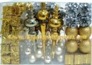 100 Count Christmas Ornament Set in Silver and Gold