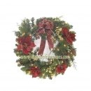 "20"" 100-Light Poinsettia Wreath"